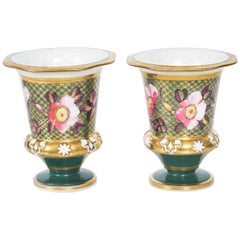 Antique Pair of Green and Gilt Regency English Beaker Matchpots, 19th Century