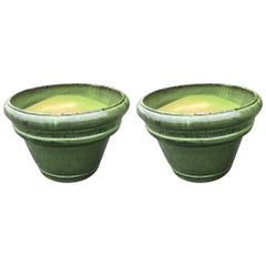 Pair of Large Earthy Green Glazed Terracotta Flower Pot Planters Jardinières