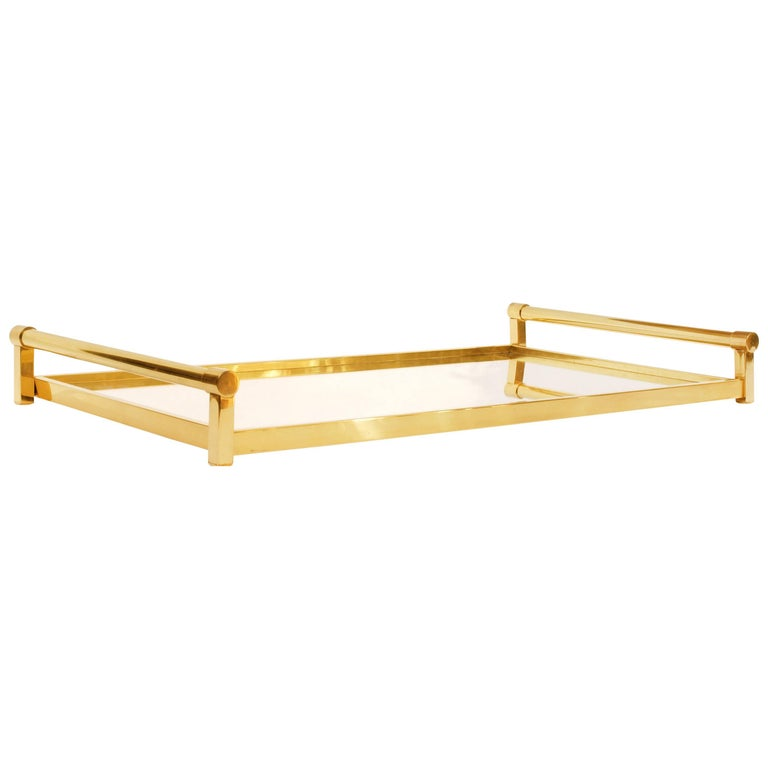Very Large Brass Drinks Serving Tray by Jacques Adnet For Sale