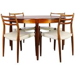 Danish Dining Room Set in Rosewood Niels Otto Møller Model.78 Dark Brown White