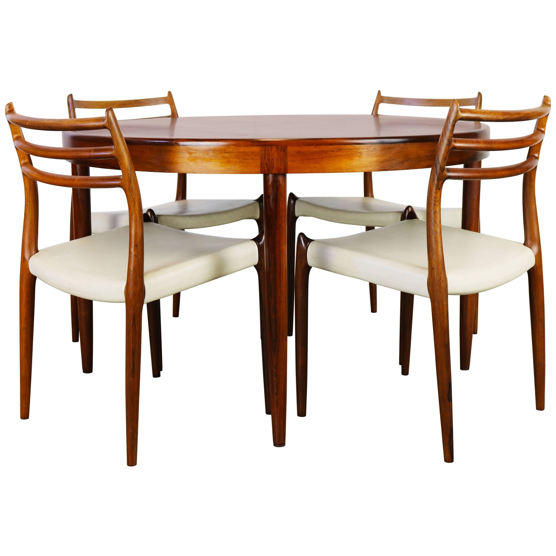 Danish Dining Room Set In Rosewood Niels Otto Møller Model.78 Dark Brown  White For