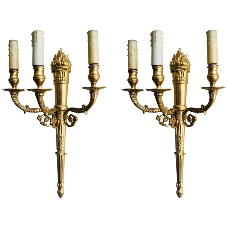 19th Century Pair of French Bronze Three-Light Wall Sconces