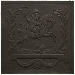 Antique Square Fireback Showing Napoleon