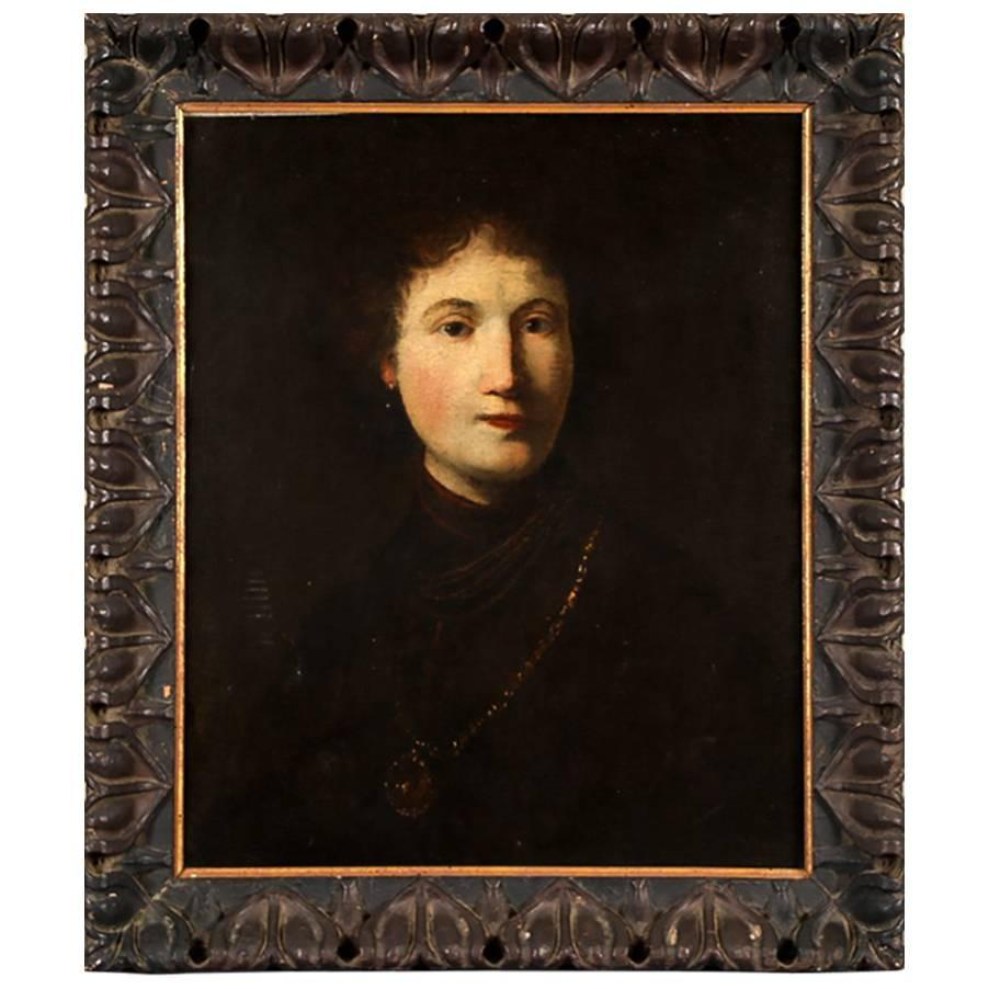 School of Rembrandt Oil on Canvas Portrait of a Young Noble