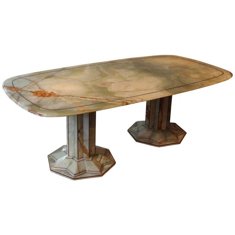1930s Art Deco Onyx Dining Table
