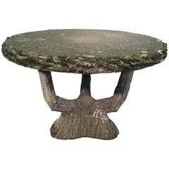 Mossy French Round Faux Bois Dining Table