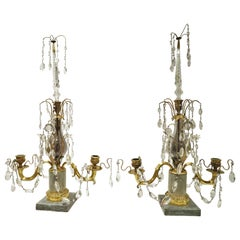 Pair of Early 19th Century Marble, Bronze and Painted Glass Baltic Girondales