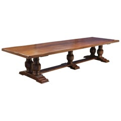 Massive French Plank Top Oak Farm House Table