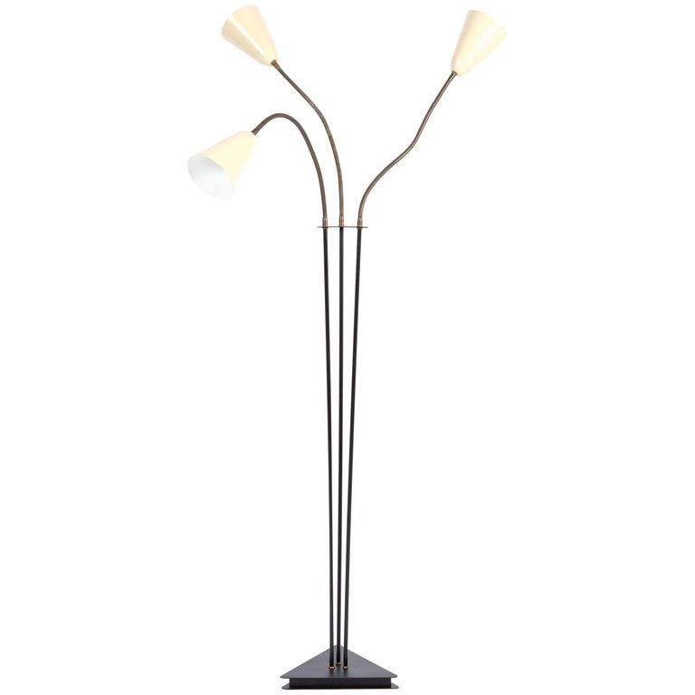 Floor Lamp Copper Stilnovo Style with Three Enameled Hats