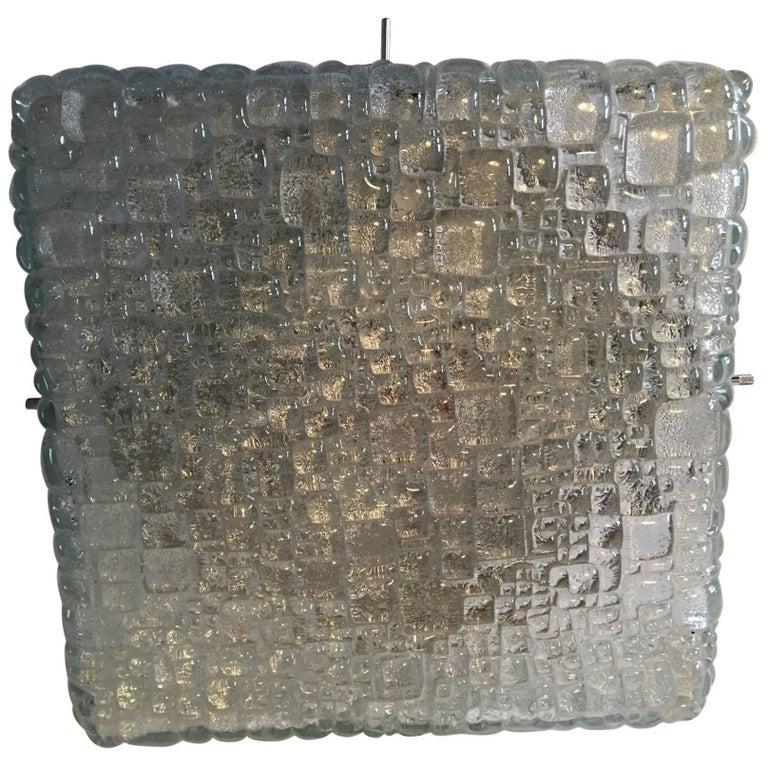 Square Ice Glass Flush Mount Lamp, Hoffmeister Leuchten, Germany For Sale