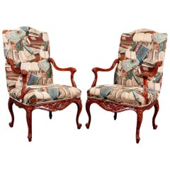 Pair of Carved Faux Tortoise Lacquered Armchairs