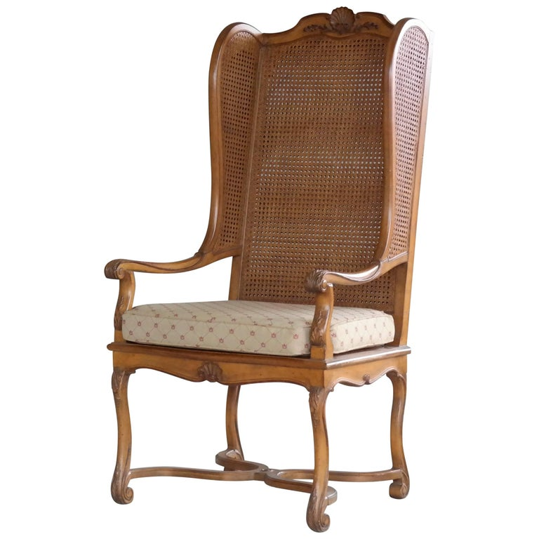1920s Hollywood Regency Cane Wingback Chair