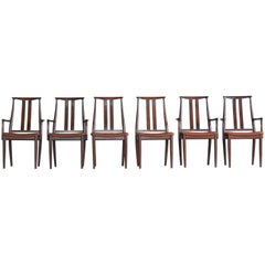 Danish Midcentury Set of Six Dining Chairs in Stained Beech and Leather