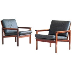 Pair of Danish Illum Wikkelsø Easy Chairs Model Capella in Rosewood and Leather