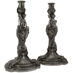 19th Century Bronze Large Pair of Candlesticks