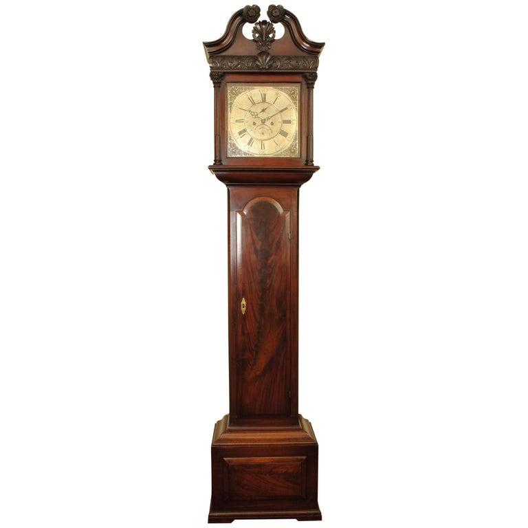 Fine 18th Century Irish Mahogany Long Case Clock For Sale