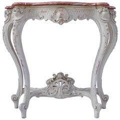 Small Light Grey Lacquered Louis XV Style Console, circa 1900