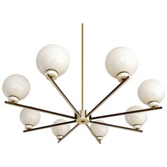 Large 8 Lights Sputnik Glass Brass Chandelier, Stilnovo Style