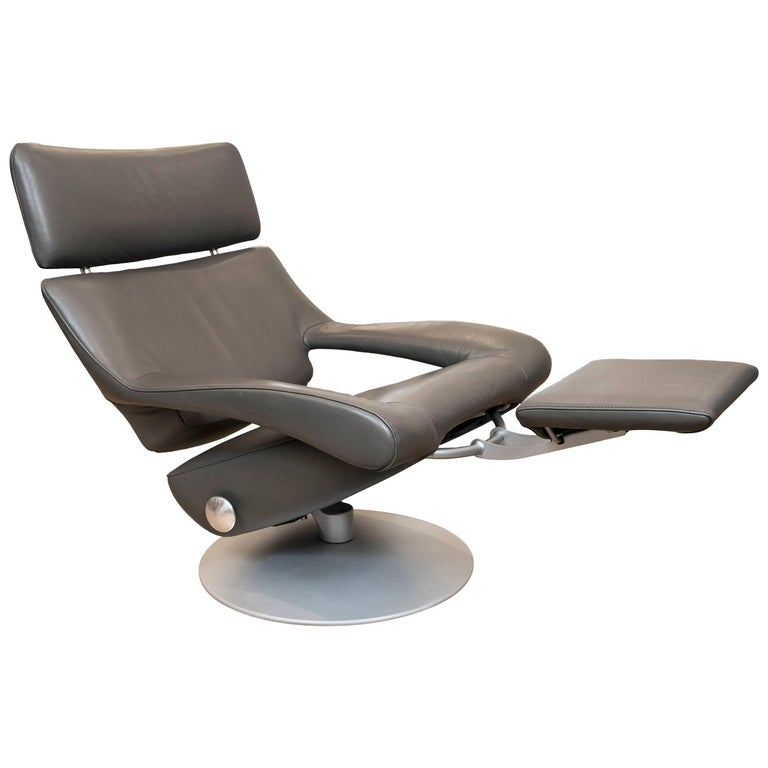 De Sede DS-255 Recliner in Grey Leather For Sale
