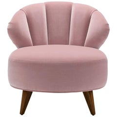 Contemporary Princess Bella Chair in Velvet with Oak or Walnut Legs