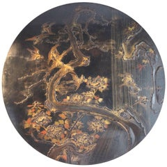 Large 19th Century Chinoiserie Lacquered Roundel