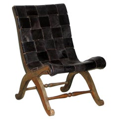 Spanish Modern Neoclassical Leather Strap Chair Attributed to Pierre Lottier