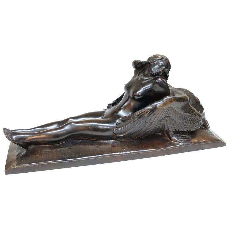 Paul Silvestre Sculpture of Leda and the Swan in Bronze