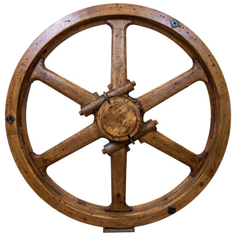 Large North American Industrial Wooden Wheel For Sale