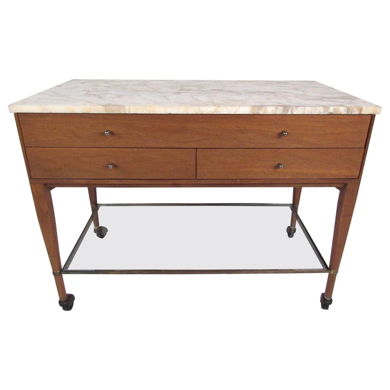Paul McCobb for The Calvin Group Marble-Top Bar Cart