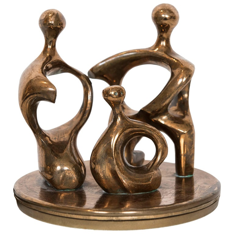 Signed Small Vintage Abstract Bronze Sculpture For Sale