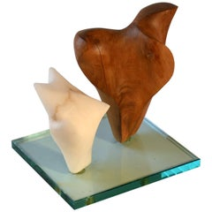 Midcentury Double Abstract Sculpture Carved in Wood and Alabaster