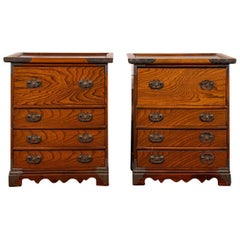 Pair of Oriental Exotic Wood Bedside Chests