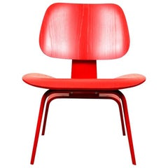 Herman Miller Eames Modern Red Stained Wood Side Chair