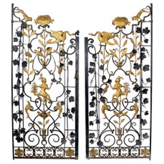 Early 20th Century Art Deco Gold Painted Two-Door Iron Gate
