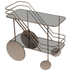 Contemporary European Powder Coated Metal Drinks Cart with Smoke Glass Shelves