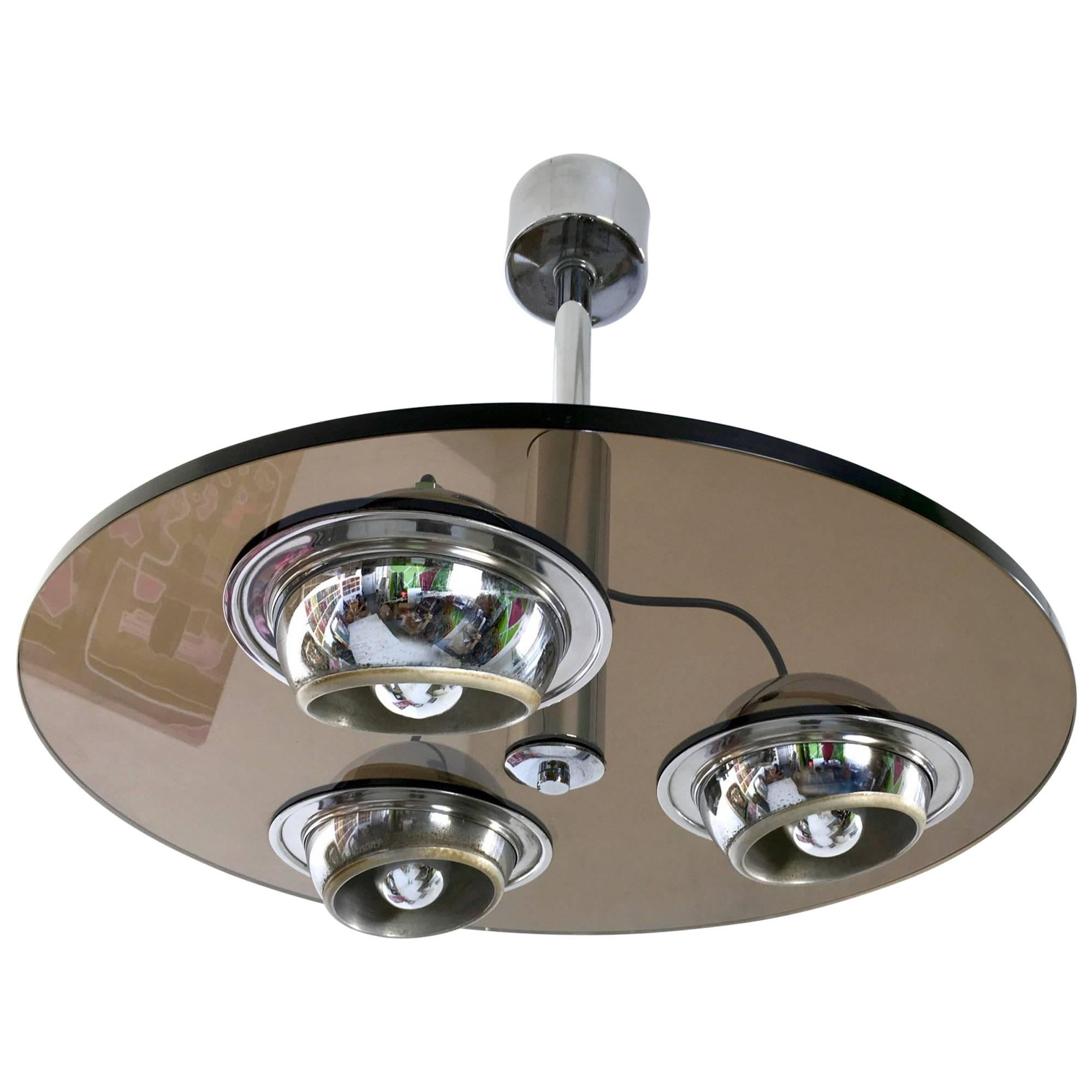 Round Thick Smoked Glass Ceiling Light, Italy, 1970s