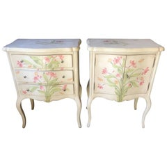 Pair of Romantic Hand-Painted Nightstands by Patina