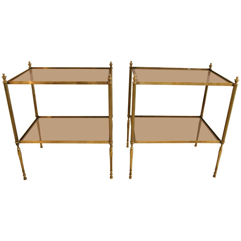 Pair of Maison Baguès Style Side Tables in Brass and Glass