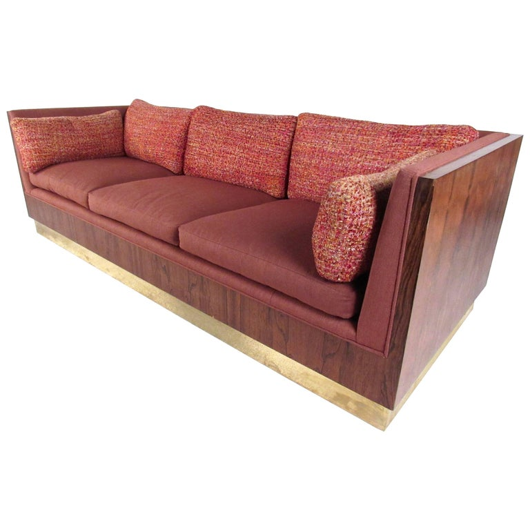 Milo Baughman Sofa with Rosewood Frame For Sale