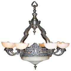 French 20th Century Art Deco Silvered Bronze & Alabaster Eight-Light Chandelier