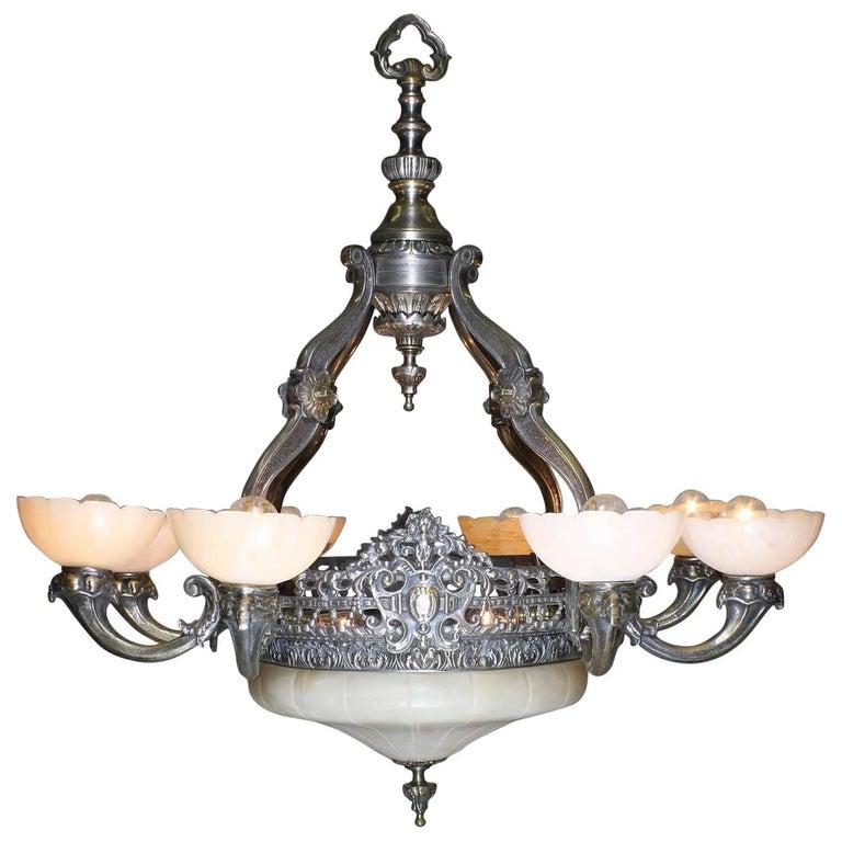 French 20th Century Art Deco Silvered Bronze & Alabaster Eight-Light Chandelier