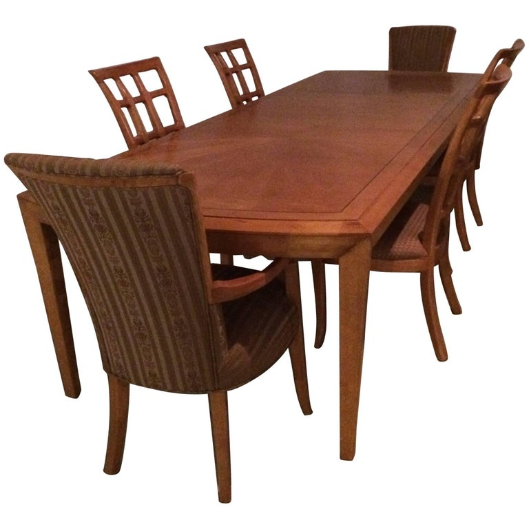 Magnificent Very Long Maple Dining Table and Six Matching Chairs by Henredon