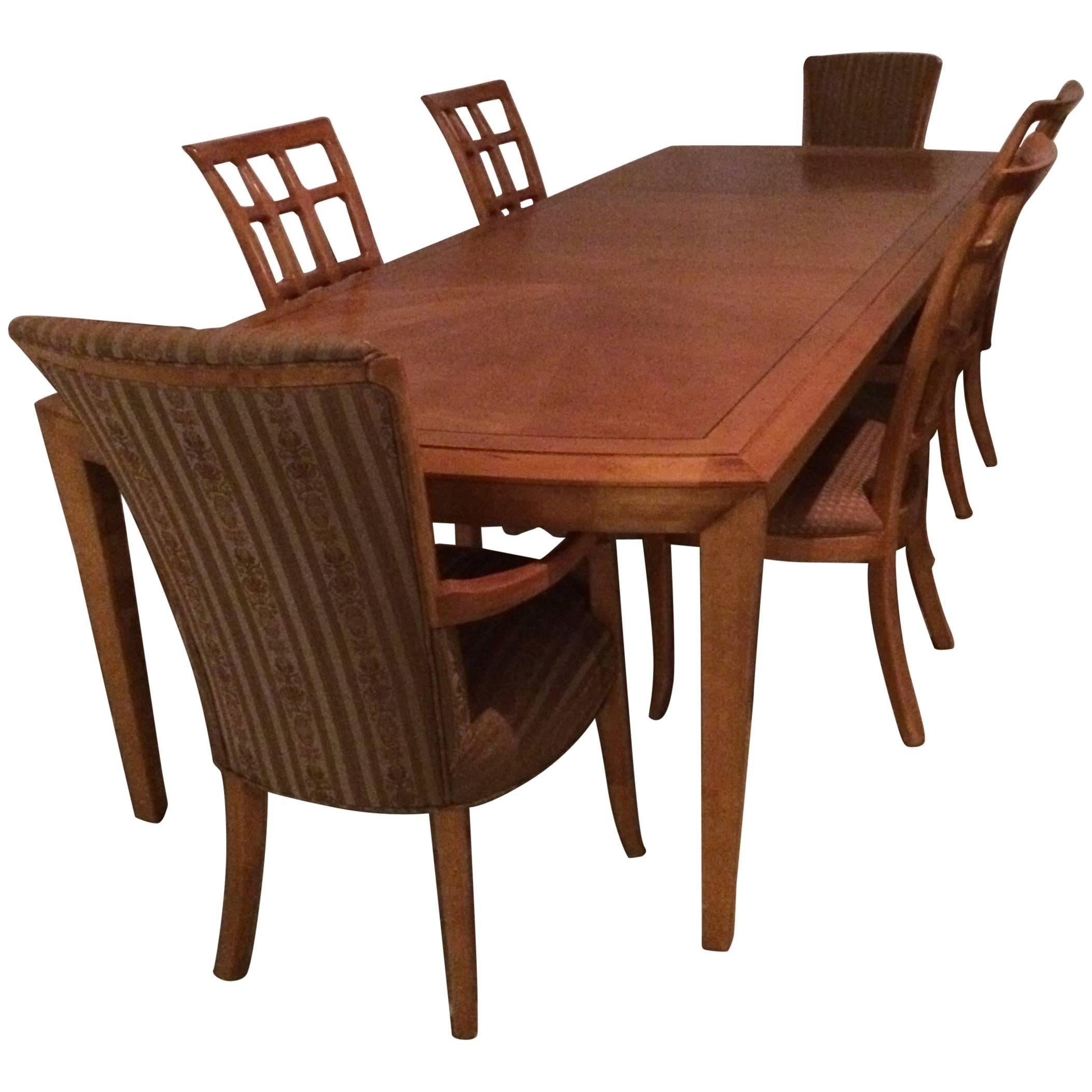 Charmant Magnificent Very Long Maple Dining Table And Six Matching Chairs By Henredon