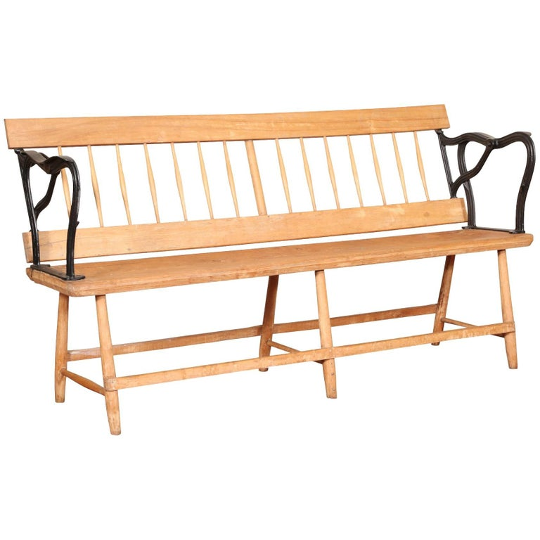 Antique Reversible Pine and Iron Bench
