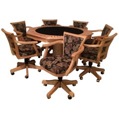 Fabulous Two-Sided Maple Game Table with Matching Adjustable Chairs