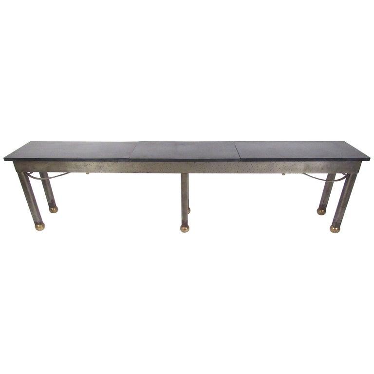 Industrial Modern Slate Top Steel Console Table