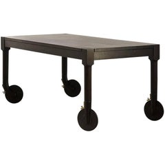 Oak Hand-Carved Rolling Dining Table by AKMD Collection
