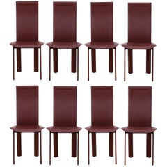 Set of Eight Fine Quality Cordovan Leather Italian Dining Chairs