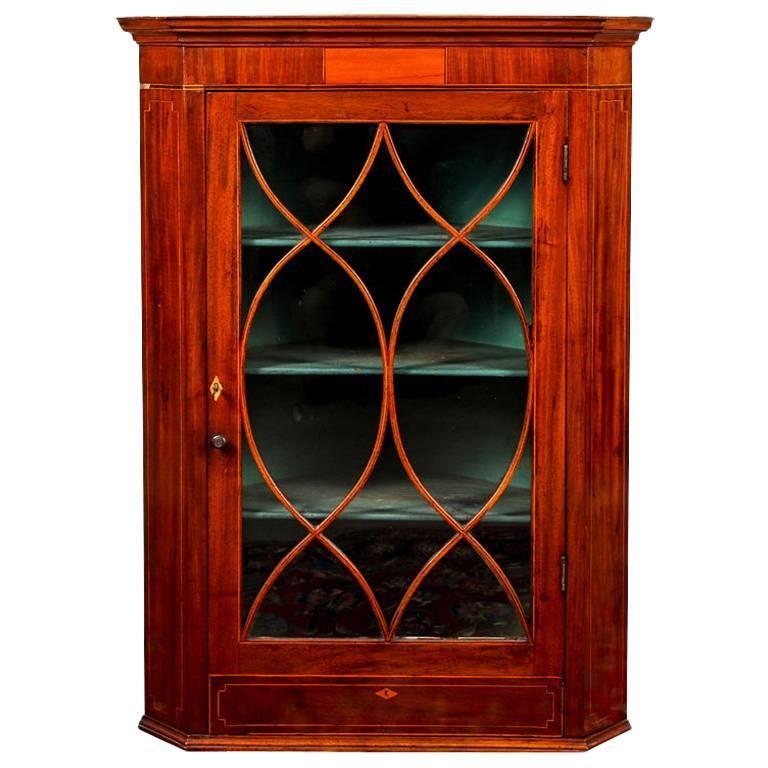 Antique Hanging Mahogany Corner Cabinet With Mullion Door For Sale - Antique Hanging Mahogany Corner Cabinet With Mullion Door For Sale