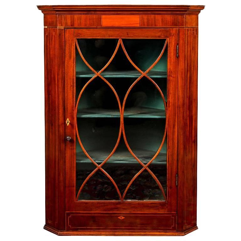 Antique Hanging Mahogany Corner Cabinet With Mullion Door